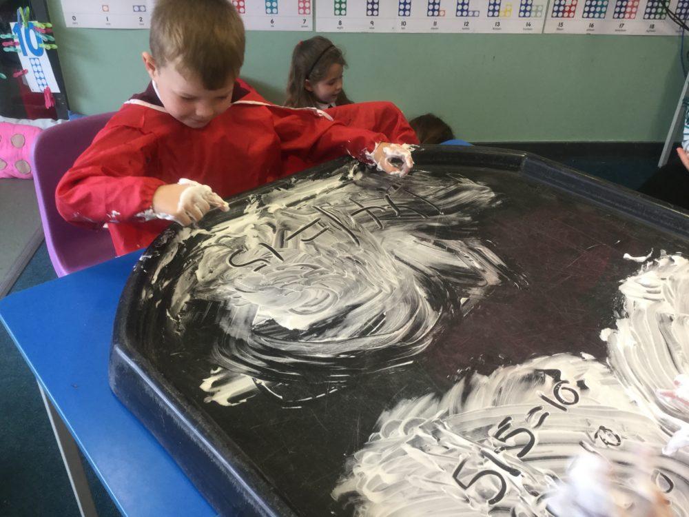 Maths is fun in the shaving foam!